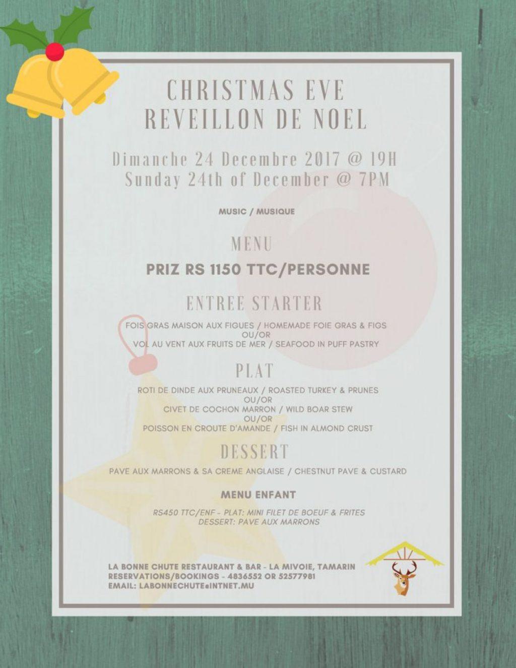 Menu Reveillon De Noel.Restaurants Mauritius La Bonne Chute Christmas Eve